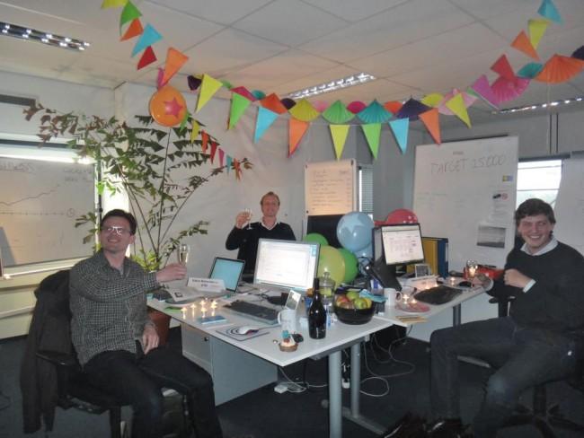 Edwin, Tim en Diederick tijdens de office opening in 2012.