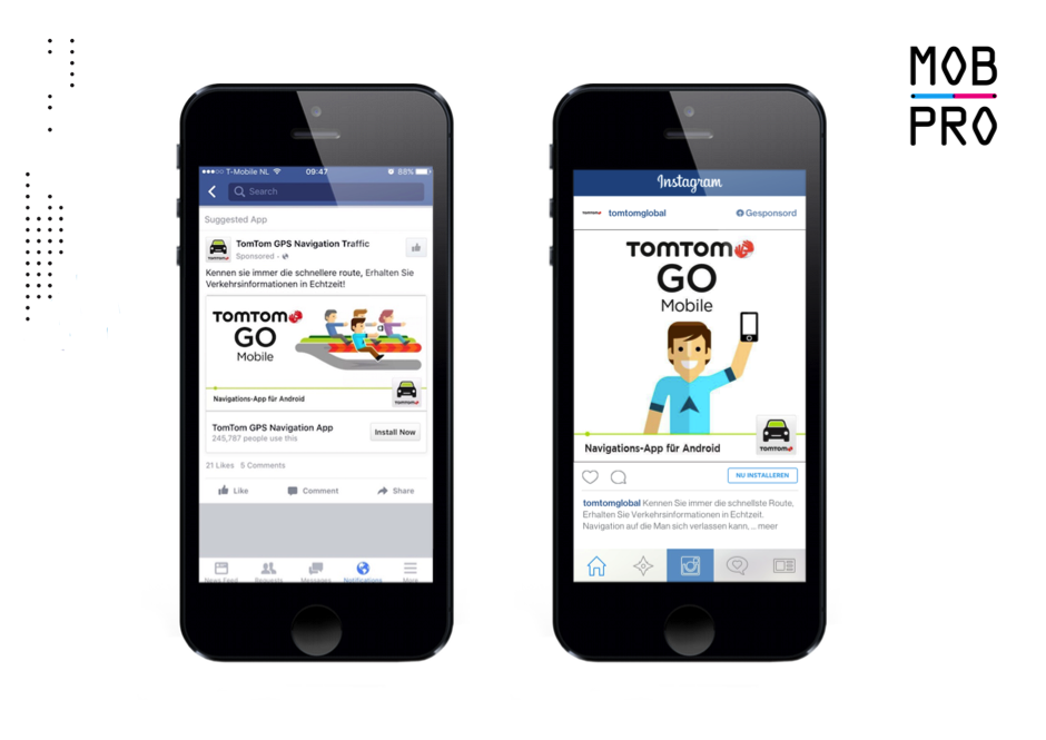 TomTom GO Mobile voor Android advertentie op Facebook (links) en Instagram (rechts).