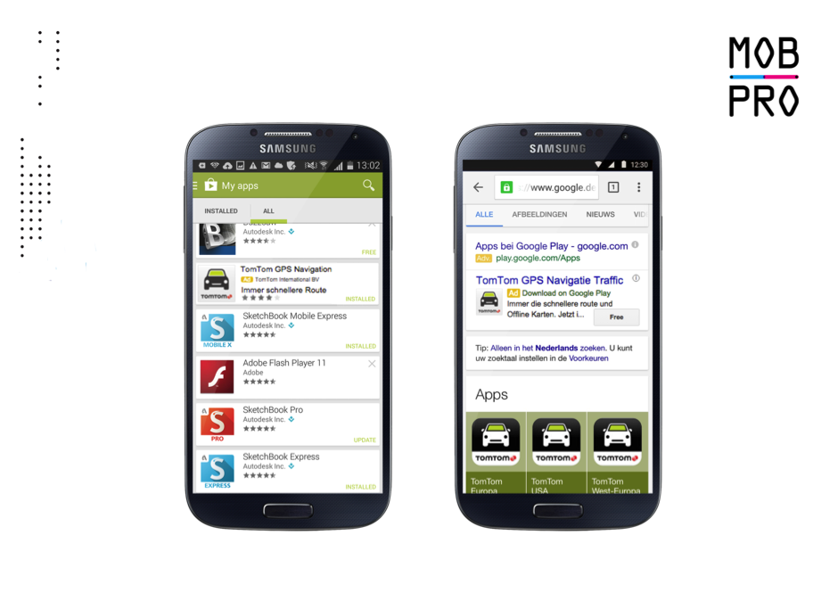 TomTom GO for Android advertisement in Play Store (left) and Google Search (right).