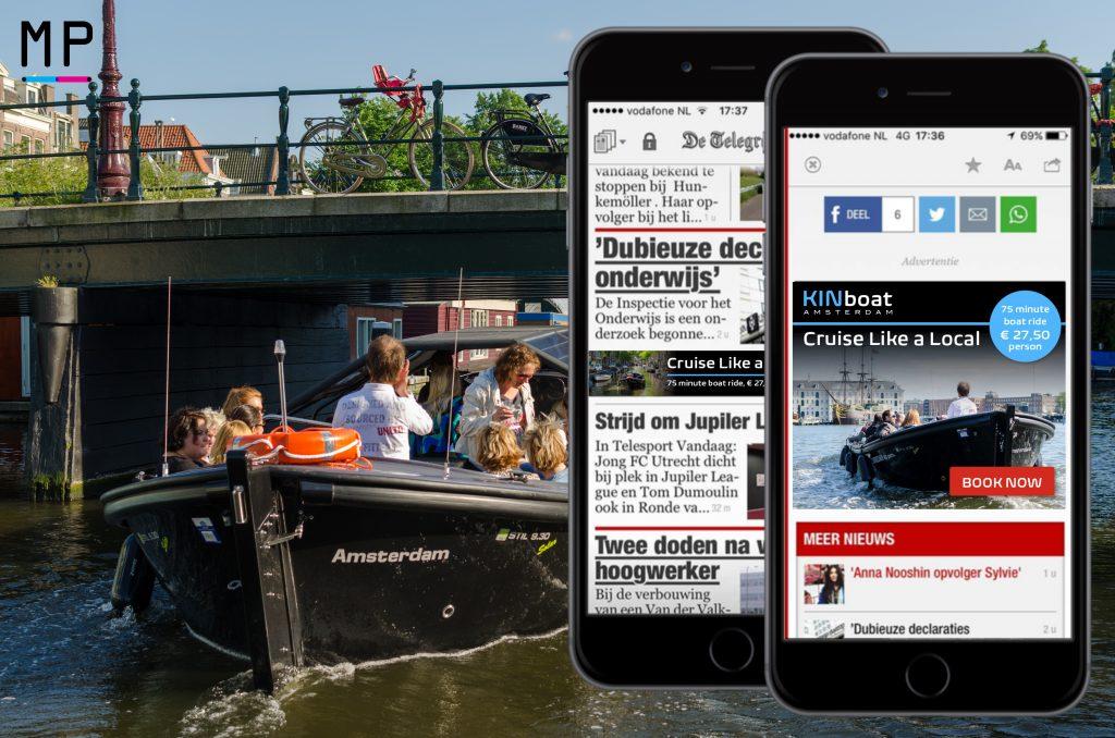 De campagne van KINboats richt zich op toeristen in Amsterdam.