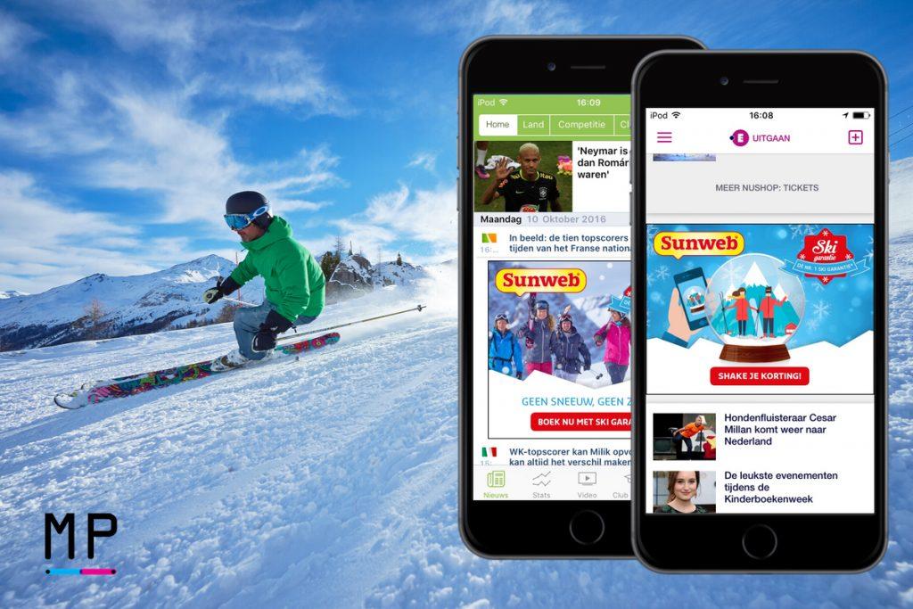 De mobiele advertentie van Sunweb Skigarantie